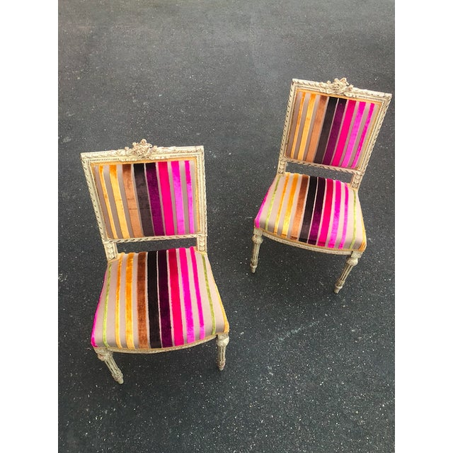 Antique French 19th Century Louis XVI Side or Hall Chairs - Set of 2 For Sale - Image 9 of 11