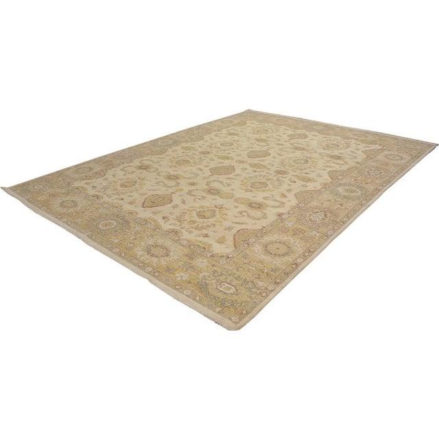 Textile Kafkaz Peshawar Linwood Ivory & Gold Wool Rug - 9'0 X 12'1 For Sale - Image 7 of 7