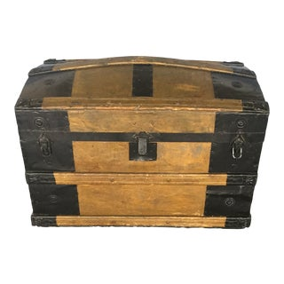 1900s Antique Travel Trunk With Caster For Sale