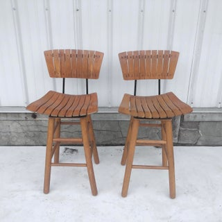 Pair Mid-Century Counter Stools After Arthur Umanoff Preview