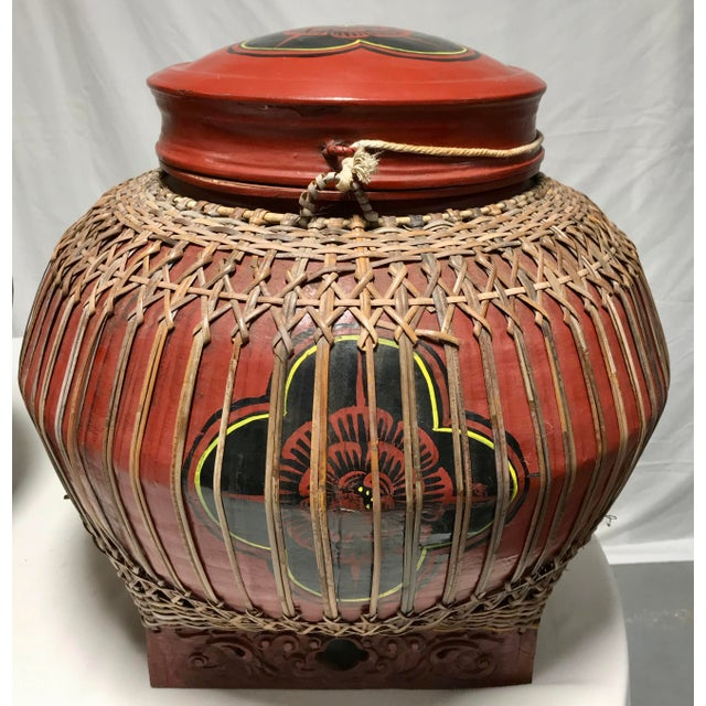 Red Early 20th Century Vintage Asian Paper Mâché Coated Rattan Storage Containers- A Pair For Sale - Image 8 of 11