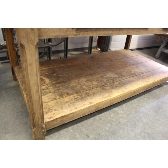 French Farmhouse Style Table with Lower Shelf, circa 1850