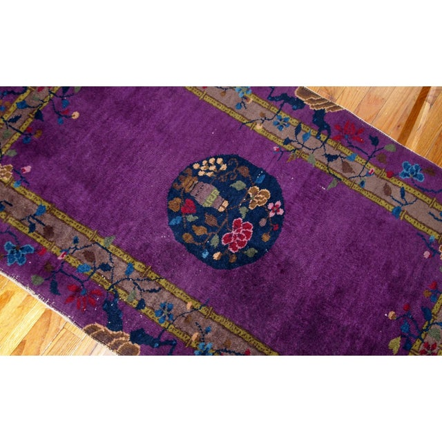 Purple 1920s, Hand Made Antique Art Deco Chinese Rug 2.10' X 4.9' For Sale - Image 8 of 13