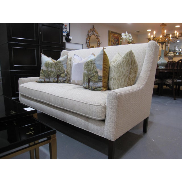 Traditional Hickory White Upholstered Loveseat Sofa For Sale - Image 3 of 7