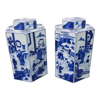 Pair Square Chinese Blue and White Ginger Jars For Sale