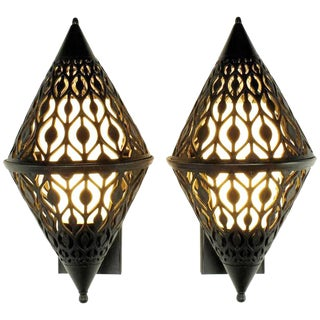 Pair of Black Enamel Pierced Diamond Sconces with Internal Milk Glass Shades For Sale