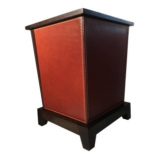 Leather and Oak Wastepaper Bin or Trash Can