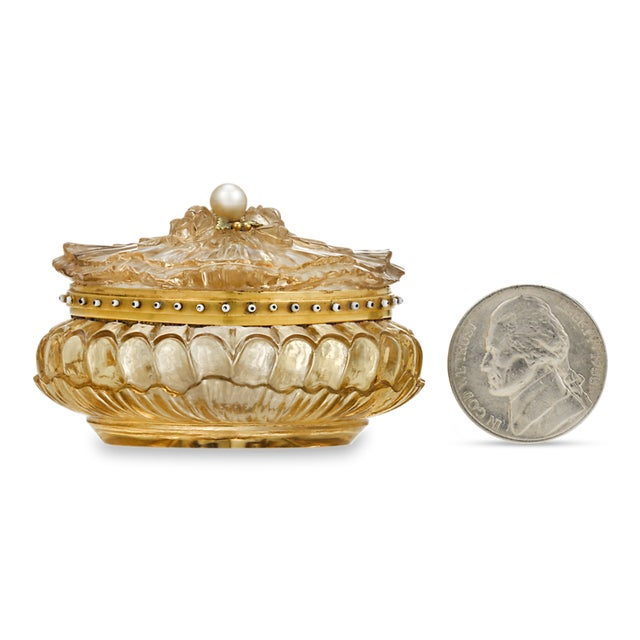 Carved Citrine Pill Box For Sale - Image 4 of 6