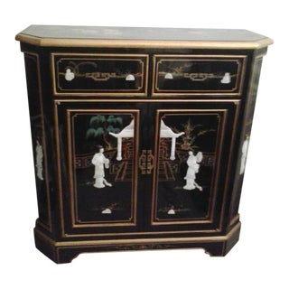 Asian Black Lacquer Mother of Pearl Cabinet For Sale