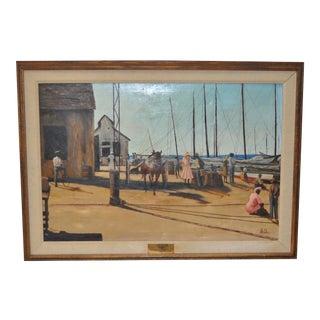 Wharf in Nassau Original Oil Painting by Le Ora c.1971