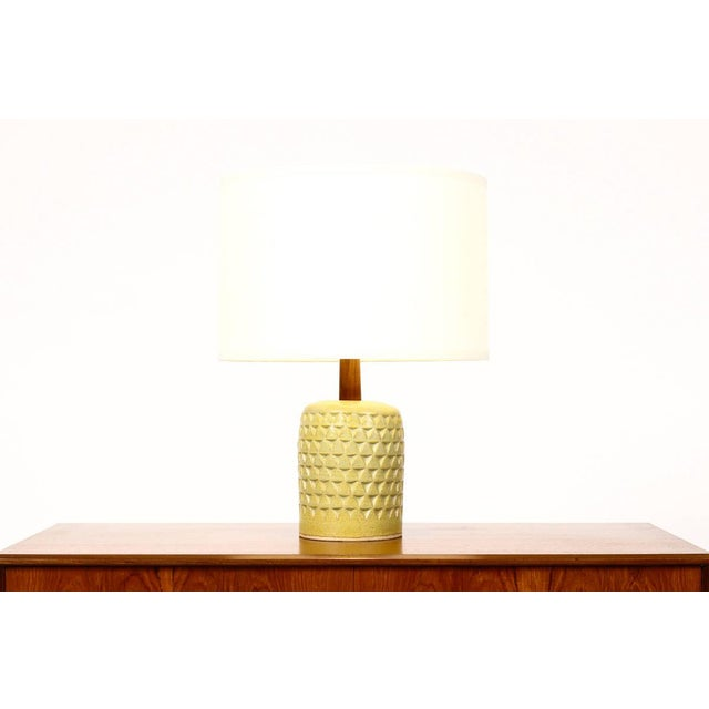 Wheel thrown ceramic stoneware table lamp handcrafted by Christian Boehr. Turned walnut neck and brass detailing. Signed...