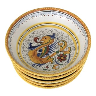 Fima Deruta Raffaellesco Design Bowls, Handmade in Florence - Set of 6 For Sale