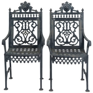 19th Century Iron Cemetery Chairs- a Pair For Sale