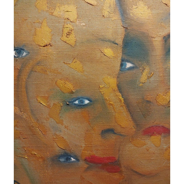 Many Eyes & Faces Cubist Oil Painting Signed by Janco For Sale In Los Angeles - Image 6 of 12