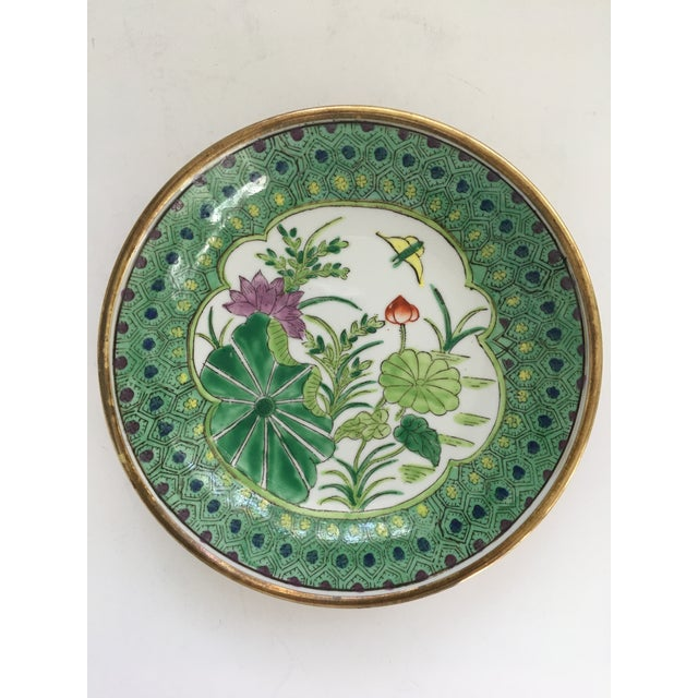Japanese Lotus Hand Painted Brass Encased Porcelain Bowl/Catchall For Sale - Image 12 of 13