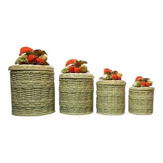Vintage Lefton Ceramic Wicker & Vegetable Canisters - 8 Piece Set