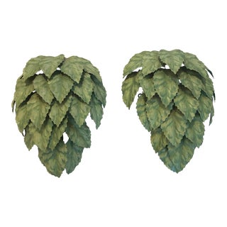 Leaf Motif Green Tole Wall Sconces- a Pair For Sale