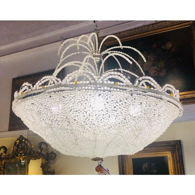 Art Deco Rene Lalique Style, Crystal Basket Chandelier For Sale - Image 11 of 12