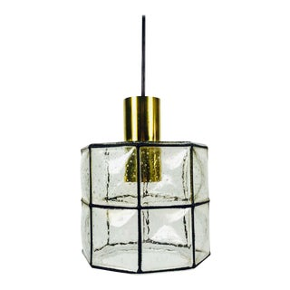 Midcentury Iron and Bubble Glass Pendant Lamp by Glashütte Limburg, 1960s For Sale