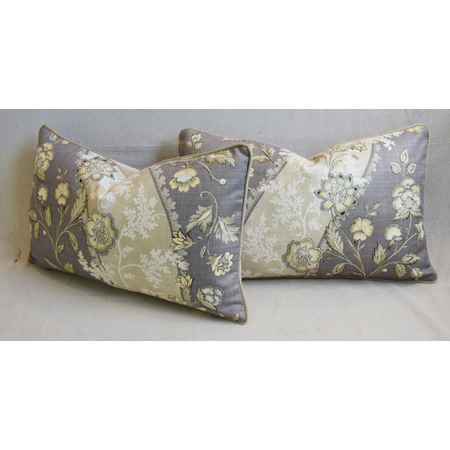 "Floral Linen & Velvet Feather/Down Pillows 26"" X 16"" - Pair For Sale - Image 9 of 12"