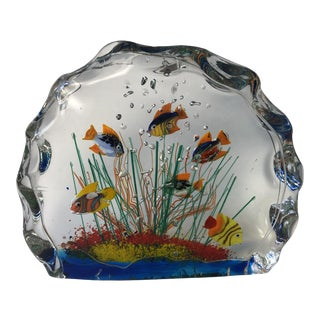 Vintage Murano Art Glass Heavy Fishbowl For Sale