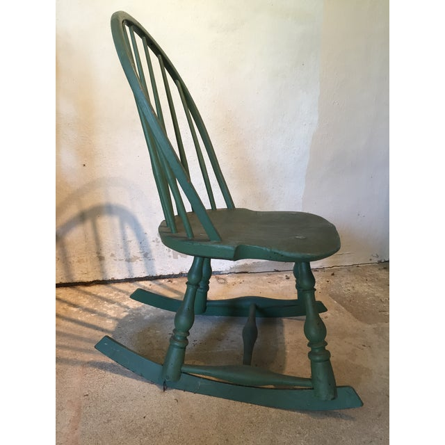 Beautiful small green painted antique Windsor Rocker from 1800s, perfect  for a child's use. - Child's Painted Antique 19th Century Windsor Rocking Chair Chairish