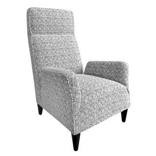 Custom Torino High Back Chair in Black and White Bouclé For Sale