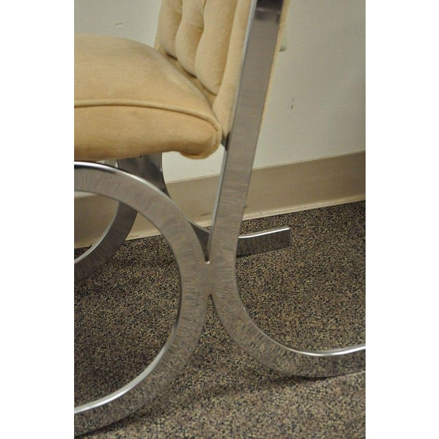 Tan 4 Vintage Mid Century Modern Chrome X-Form Tufted Dining Chairs Milo Baughman Era For Sale - Image 8 of 11