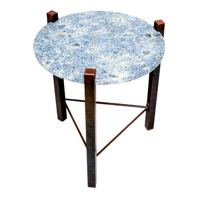 Blue Granite & Solid Bronze Side Table For Sale