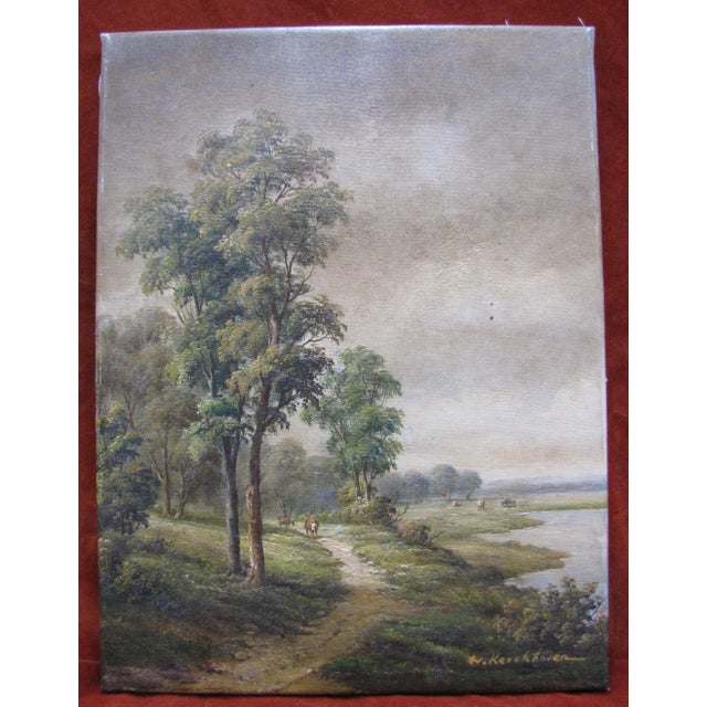Original contemporary oil on canvas by W Kerckhoven. Painting is a rural landscape in the Dutch rural style. Painting is...