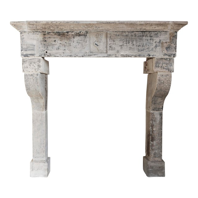 Antique Limestone Fireplace of French Limestone, Campagnarde Style For Sale