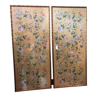 1970s Vintage Framed Gracie Wallpaper Panels - A Pair For Sale