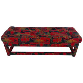 Milo Baughman Parsons Fully Upholstered Long Bench, in Vintage Larsen Fabric For Sale