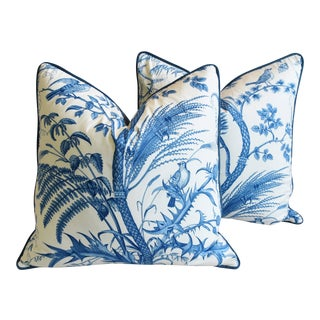"Brunschwig & Fils Bird and Thistle Feather/Down Pillows 24"" Square - Pair For Sale"