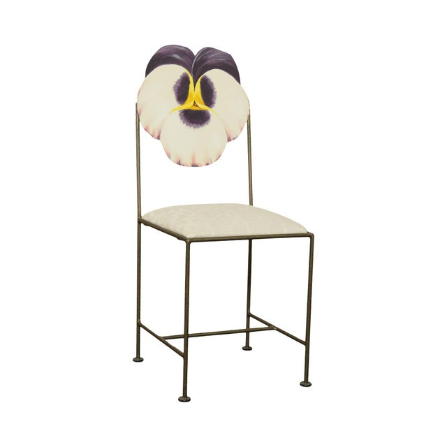 Wrought Iron Hand Painted Flower Back Side Chair For Sale - Image 13 of 13
