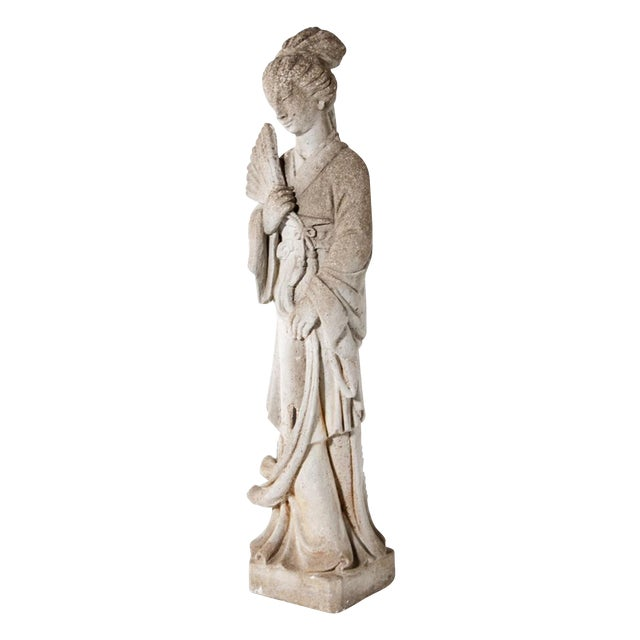 Mid Century Vintage Cast Stone Figure of a Goddess For Sale