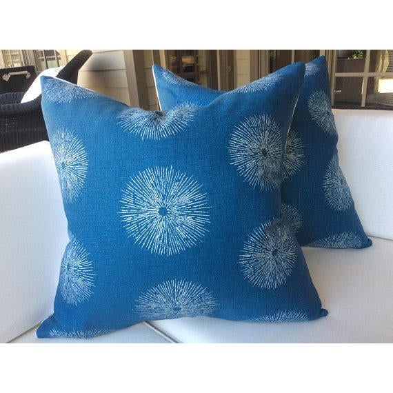 "Wonderful and unique fabric - ""Sea Urchin"" in teal and dove (off white) is a charming linen in blue teal. This pair of..."
