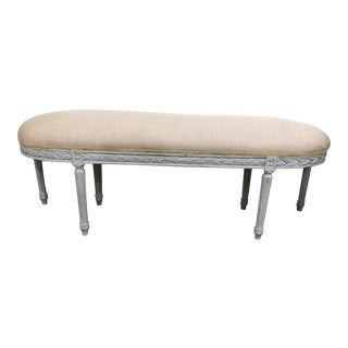 Vintage French Louis XVI Demilune Long Bench For Sale