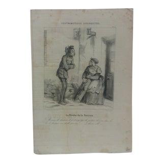 "Antique Mounted French Print, ""La Buche De La Portiere"" For Sale"