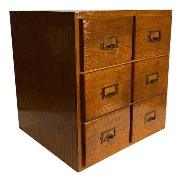 Antique Arts & Crafts Mission Oak 6 Drawer Cue Card Desk Top File Cabinet - Antique Arts & Crafts Mission Oak 6 Drawer Cue Card Desk Top File