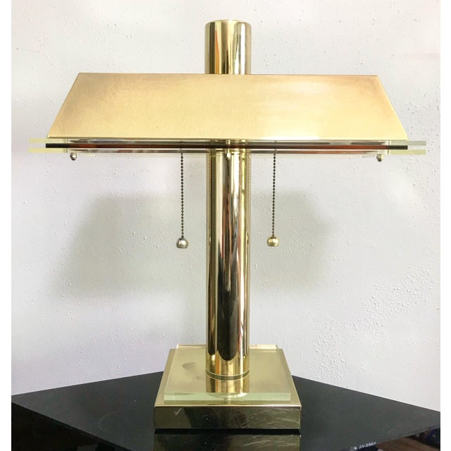 1980s Modern Brass and Lucite Desk Lamp For Sale In Portland, OR - Image 6 of 6