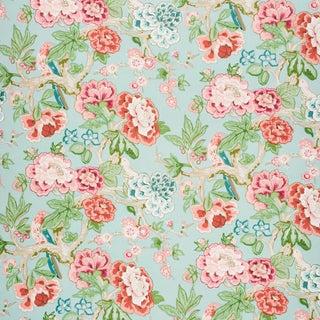 Schumacher x Mary McDonald Bermuda Blossoms Wallpaper in Aqua (8 Yards) For Sale