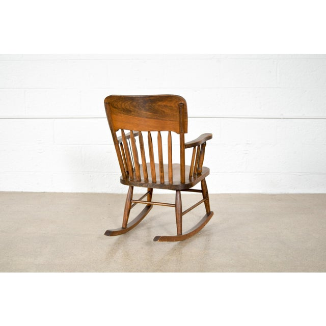 Antique Turn-of-the-Century Handcrafted Spindle Back Child's Wooden Rocking Chair For Sale In Detroit - Image 6 of 8