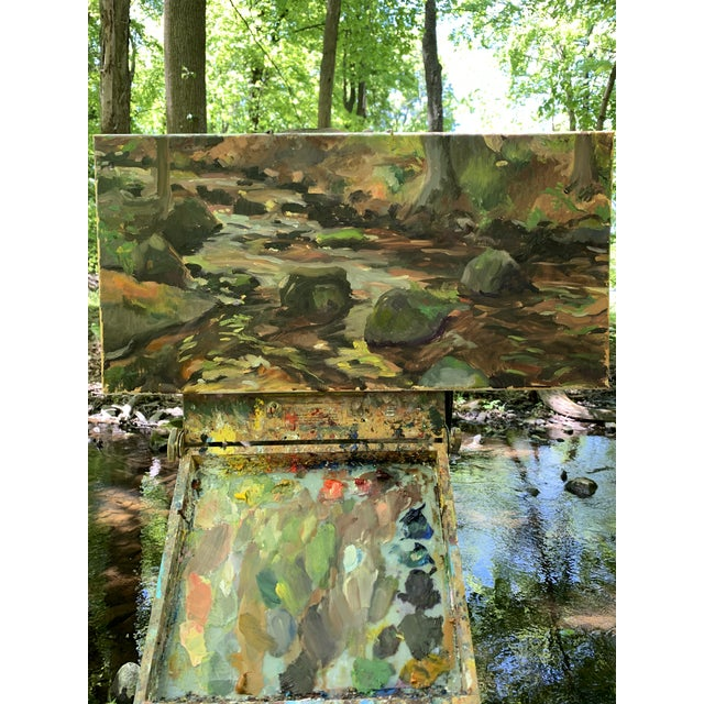Brown Impressionist The Stream Painting on Canvas For Sale - Image 8 of 9