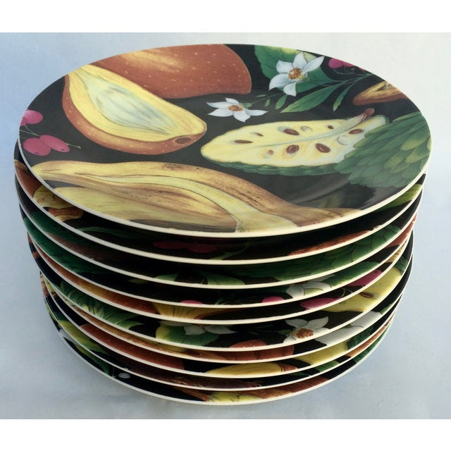 Limoges by Philippe Deshoulieres canapé/dessert plates, set of 10. Dramatic tropical fruits, nuts and florals with a black...