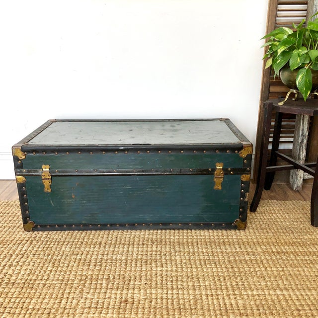 1940s Traditional Green Steamer Trunk Coffee Table For Sale - Image 4 of 13