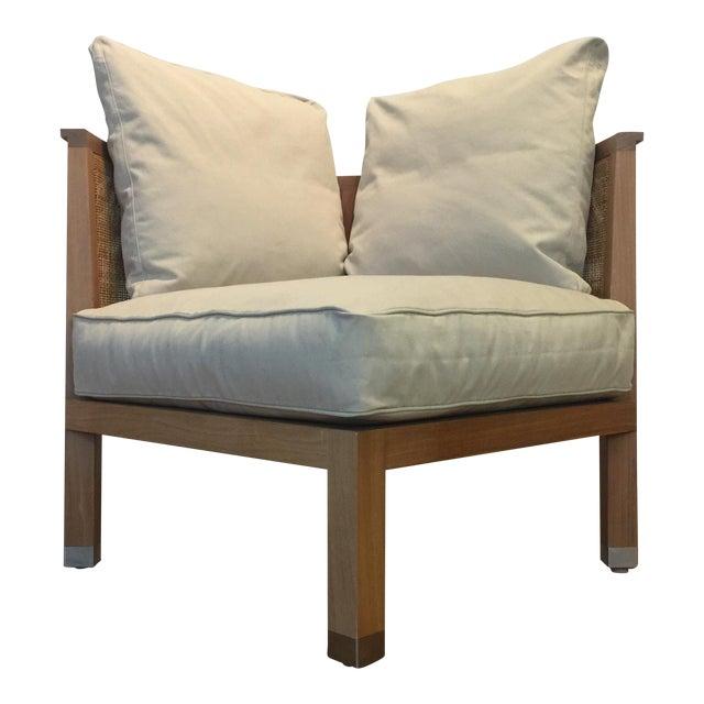 Flexform Italian Wood & Wicker Rosetta Chair For Sale