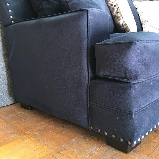 Living Spaces Blue Faux Velvet Oversized Isabelle Sofa - Image 4 of 10