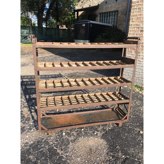 Antique Industrial Rolling Cart With Shelves For Sale - Image 13 of 13
