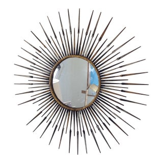 Vintage Gold Accent Sunburst Mirror For Sale